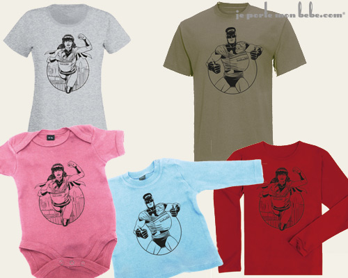Collection de t-shirts JPMBB SuperPapa et SuperMaman.